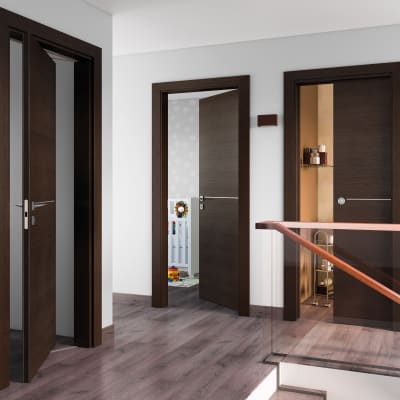 Porta da interno battente Wright Fumo 70 x H 210 cm dx