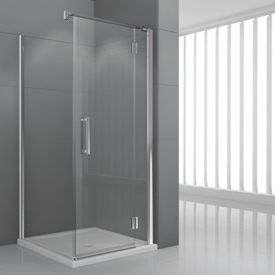 Porta doccia battente Modulo 116.5-119,5, H 195 cm cristallo 6 mm trasparente/cromo