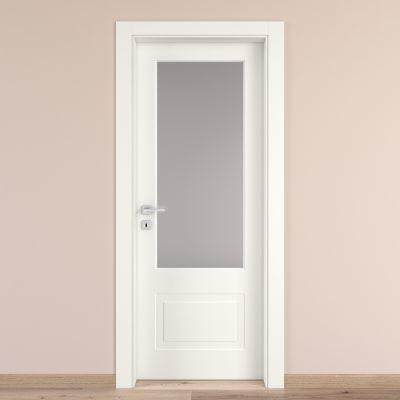 Porta da interno battente Shibuya Vetro Bianco 60 x H 210 cm dx