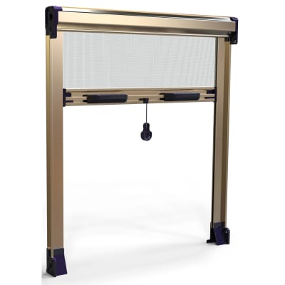 Zanzariera in kit avvolgibile con frizione bronzo L 100 x H 150 cm, spessore telaio 45 mm