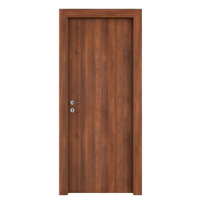 Porta da interno battente One walnut Noce 80 x H 210 cm reversibile