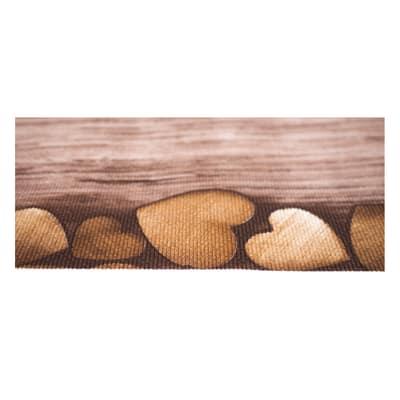 Tappetino cucina antiscivolo Full cuori marrone 55 x 180 cm