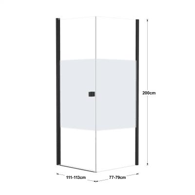 Doccia con porta battente e lato fisso Neo 71 - 73 x 77 - 79 cm, H 200 cm vetro temperato 6 mm serigrafato/nero