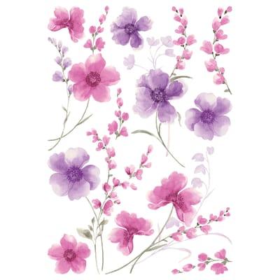 Sticker XL Purple flowers