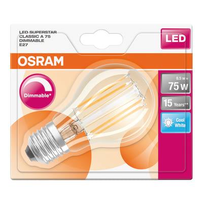 Lampadina LED Osram Filamento E27 =75W goccia luce naturale 320°
