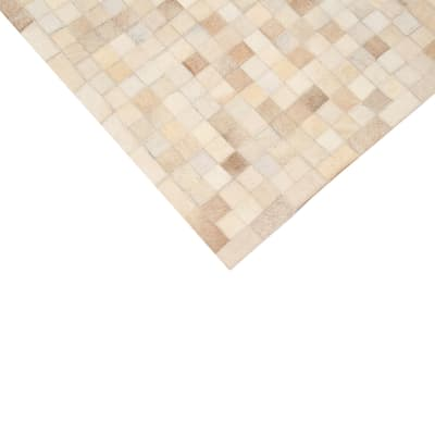 Tappeto Leather mosaic patch beige 60 x 120 cm