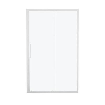 Porta doccia scorrevole Record 117-121, H 195 cm vetro temperato 6 mm satinato/bianco opaco