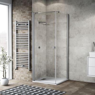 Doccia con porta battente e lato fisso Neo 73 - 75 x 77 - 79 cm, H 200 cm vetro temperato 6 mm trasparente/silver