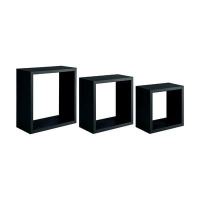 Set 3 cubi Spaceo nero, sp 1,8 cm