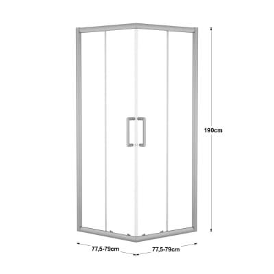 Box doccia scorrevole Quad 77.5-79 x 77,5-79, H 190 cm cristallo 6 mm trasparente/silver