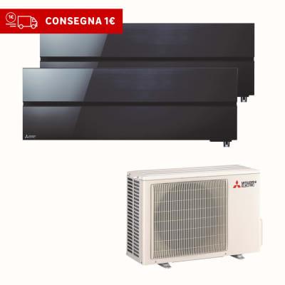Climatizzatore fisso inverter dualsplit Mitsubishi LN 9000 + 12000 BTU classe A+++ nero