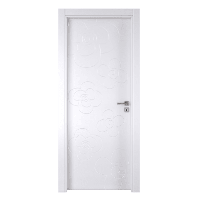 Porta da interno battente Flower white bianco 80 x H 210 cm sx