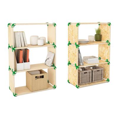 4 connettori Playwood 90° per pannelli in legno in plastica hi-tech verde