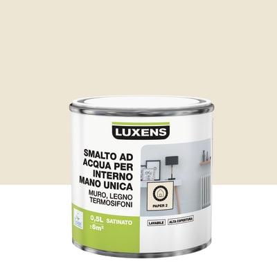 Smalto manounica Luxens all'acqua Bianco Paper 2 satinato 0.5 L