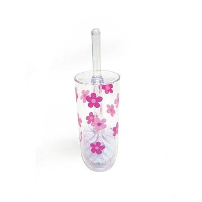 Porta scopino Milly trasparente/rosa