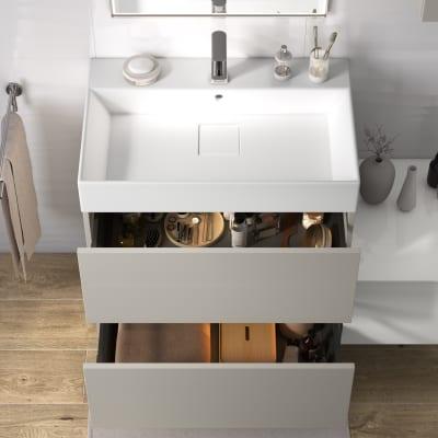 Mobile bagno Neo Line L 75 x P 48 x H 64 cm 2 cassetti grigio chiaro