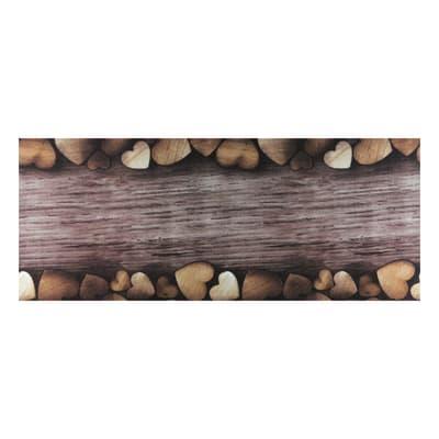Tappetino cucina antiscivolo Full cuori marrone 55 x 230 cm