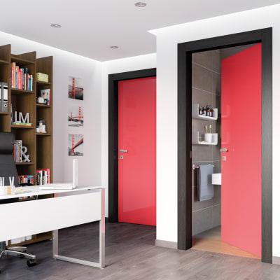 Porta da interno battente Dalì rosso lucido 80 x H 210 cm dx