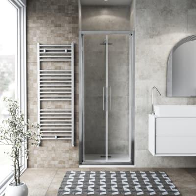 Porta doccia battente Record 87-91, H 195 cm vetro temperato 6 mm trasparente/silver lucido