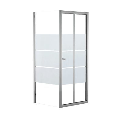 Doccia con porta pieghevole e lato fisso Dado 77 - 80 x 77.5 - 79 cm, H 185 cm cristallo 5 mm serigrafato/silver