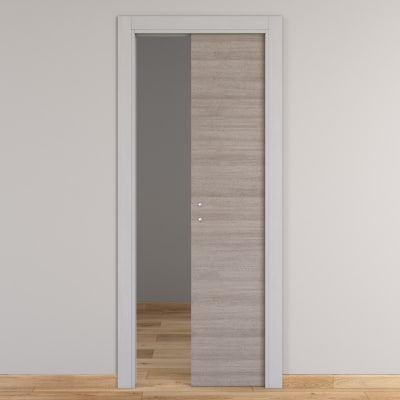 Porta da interno scorrevole One grigio/white 60 x H 210 cm reversibile