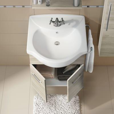 Mobile bagno Ginevra rovere grigio L 56,5 cm