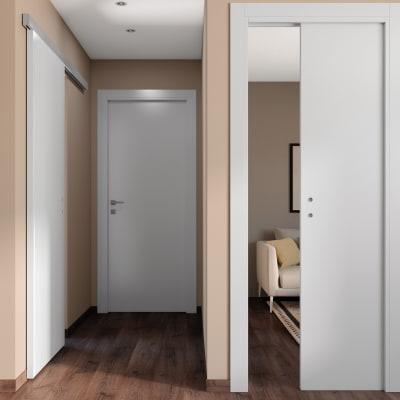 Porta da interno battente One white bianco 70 x H 210 cm reversibile