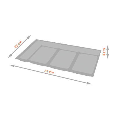 Vassoio per secchio X-plane 900 45 L grigio