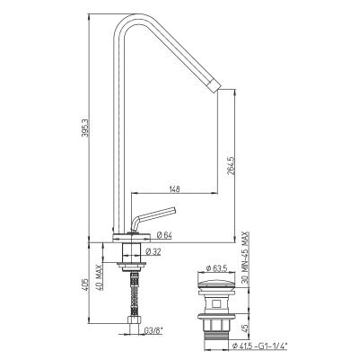 Miscelatore lavabo alto Verbano cromato