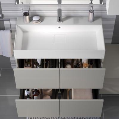 Mobile bagno Neo Line L 90 x P 48 x H 64 cm 4 cassetti grigio chiaro