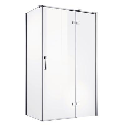 Porta doccia battente Master 67-69,5, H 196 cm vetro temperato 8 mm trasparente/argento lucido