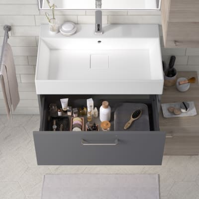 Mobile bagno Neo Line L 75 x P 48 x H 32 cm 1 cassetto grigio scuro