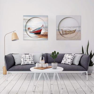 Dipinto a mano Ocean boat 80x80