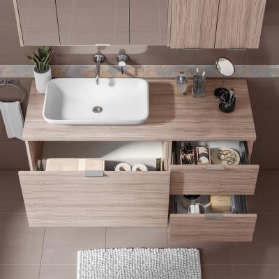 Mobile bagno Linea rovere ecrù L 135 cm