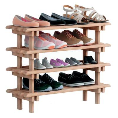 Scaffale legno portascarpe Evolution 2 ripiani L 75 x P 25,9 x H 30 cm