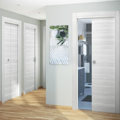 Porta da interno battente Pigalle palissandro bianco 90 x H 210 cm reversibile