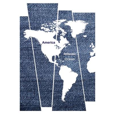 Stickers XXL Denim world map