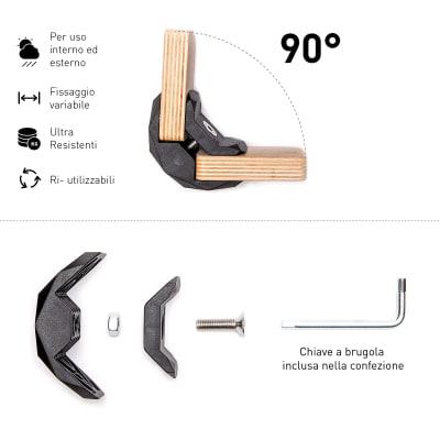 4 connettori Playwood 90° per pannelli in legno in plastica hi-tech nero