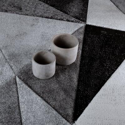 Tappeto Opera diamanti grigio scuro, nero, grigio 160 x 220 cm