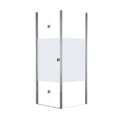 Doccia con porta battente e lato fisso Neo 67 - 71 x 77 - 79 cm, H 201,7 cm vetro temperato 6 mm serigrafato/cromo PVD