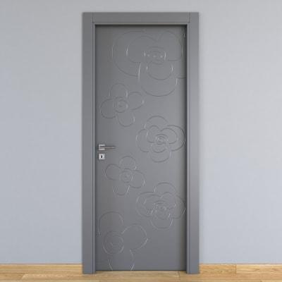 Porta da interno battente Flower ash cenere 60 x H 210 cm dx