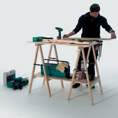 Cavalletto pino Pro H 100 x P 73,5 x L  45 cm grezzo
