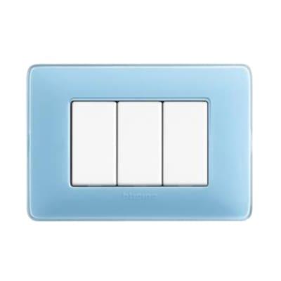 Placca 3 moduli BTicino Matix turchese