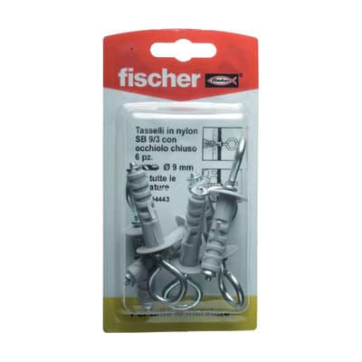 6 tasselli Fischer SB ø 9 x 40  mm con occhiolo chiuso