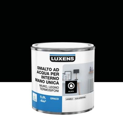 Smalto manounica Luxens all'acqua Nero opaco 0.5 L