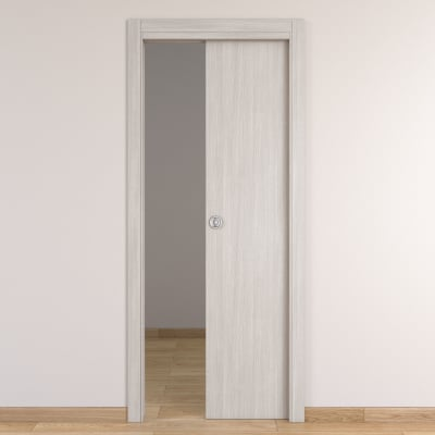 Porta da interno scorrevole Brooklyn frassino bianco 70 x H 210 cm reversibile
