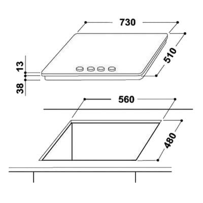 Piano cottura a gas 48 cm Indesit THP 751 W/IX/I IT