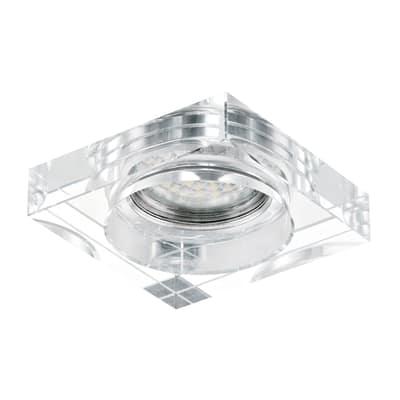 Faretto da incasso Tortoli trasparente, cromo fisso quadrato 9 x 9 cm 23 W luce calda