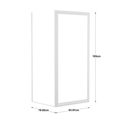 Doccia con porta battente e lato fisso Elba 83 - 87 x 78 - 82 cm, H 185 cm cristallo 3 mm piumato/bianco lucido