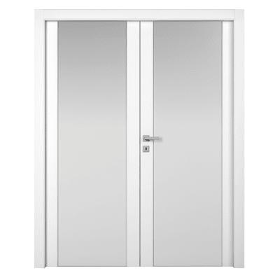 Porta da interno battente Plaza 2 Ante Frassino Bianco 180 x H 210 cm dx